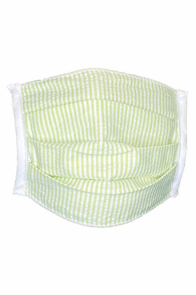 Green Stripe Seersucker Print Face Mask – Adult – Package of 5