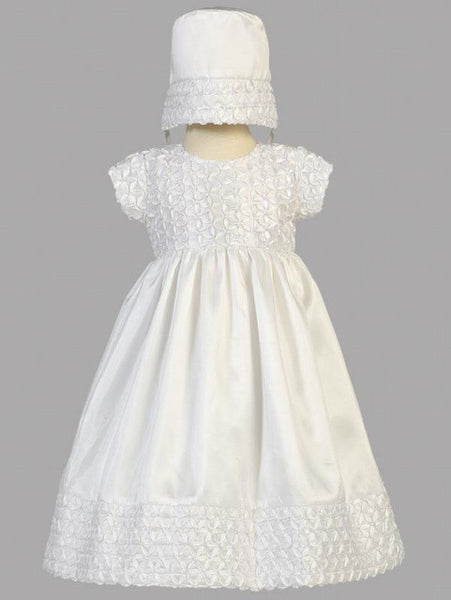 Hailey Ribbon Embroidered Taffeta Baptismal Gown