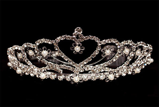 Heart Rhinestone Tiara with Pearl Accents - Lito T-73