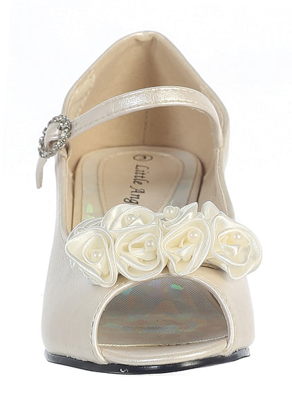 Nancy - Lito Girl's Heeled Shoe-ivory-front view