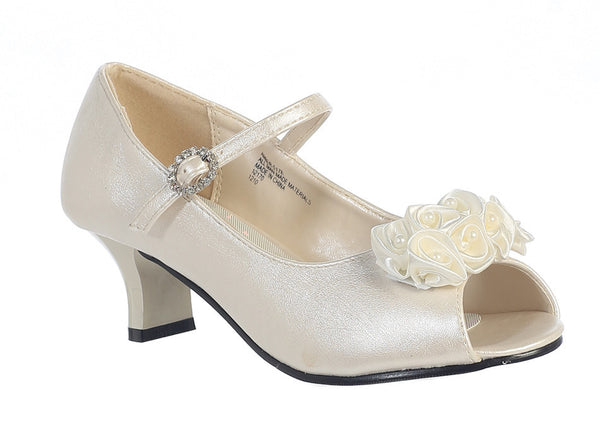 Nancy - Lito Girl's Heeled Shoe-ivory-outside side view