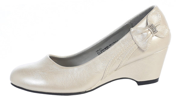 Gina Girls Wedge Shoe with Bow (ivory side view)
