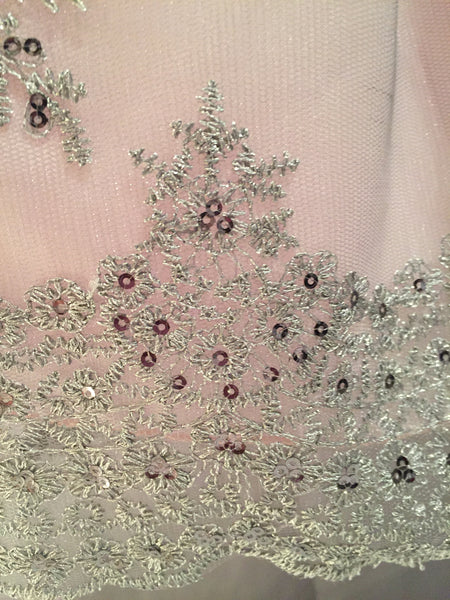Pink Shantung & Tulle Embroidered Holiday Dress with Sequins C992