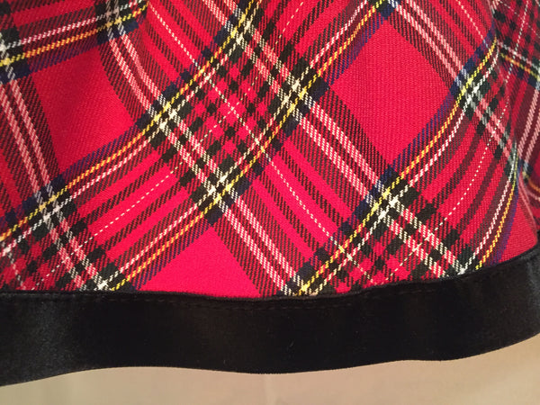Girls Red Plaid Holiday Dress with Velvet Trim LT-C814R