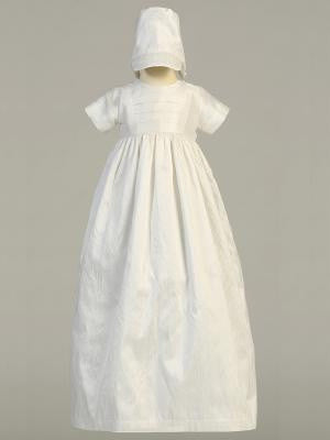 Jamie White Silk Heirloom Baptismal Gown - Unisex