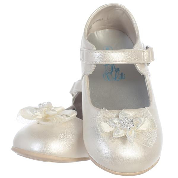 Joyce Baby Girl Shoes With Bow-ivory pair