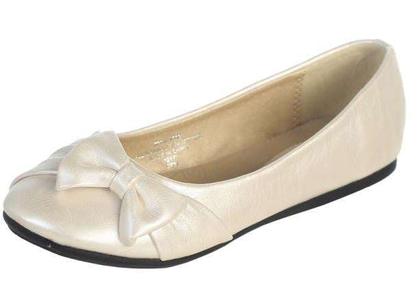 June Girls Flat Shoe with Bow-ivory side view