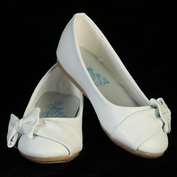 June Girls Flat Shoe with Bow-white