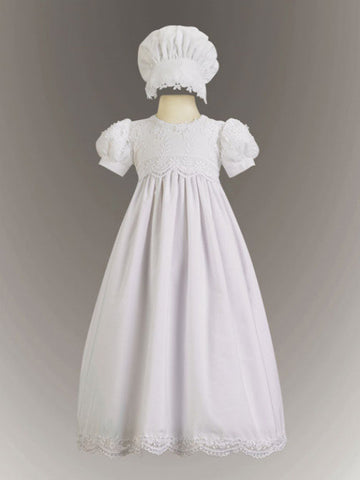 Kayla Daisy Embroidered Cotton Christening Gown