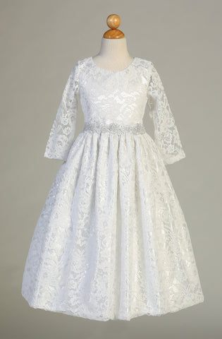 Lace Communion Dress with Silver Trim - SP156