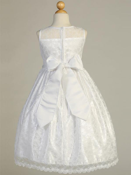 Lace First Communion Dress with Silver Corded Waist -SP161