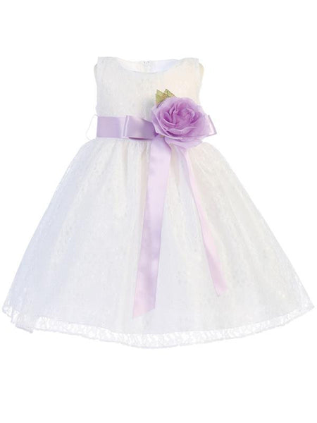 Lace Flower Girl Dress - White - Girls  BL237