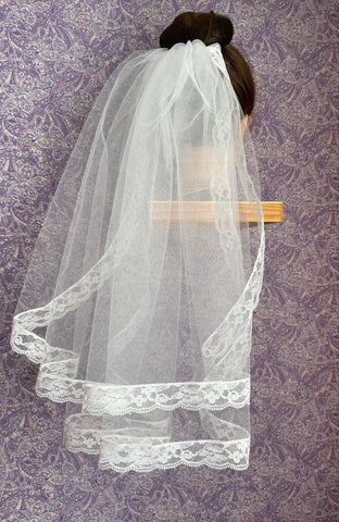 First Communion Double Layer Veil with 1 Inch Lace Trim