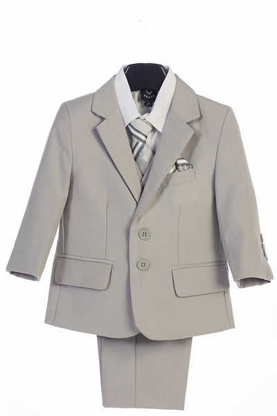 Light Gray Boys 5-Piece Suit - Little Gents - LT-3582LG