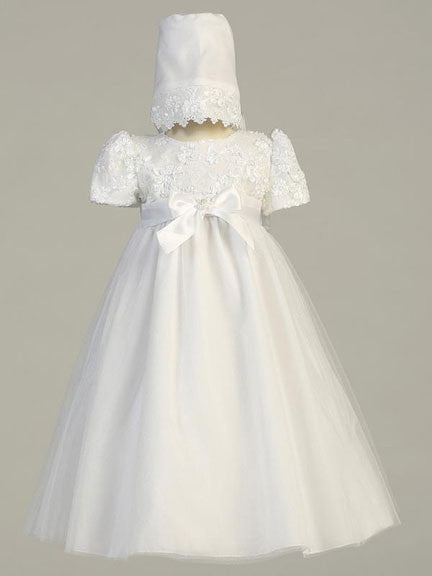 Lillian Embroidered Bodice Christening Gown