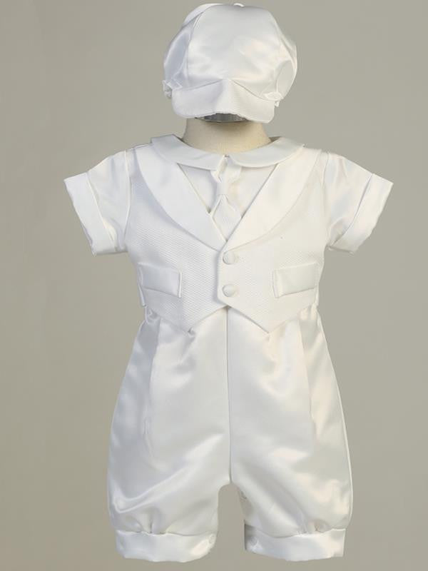 Lucas Boys Satin Christening Romper with Vest