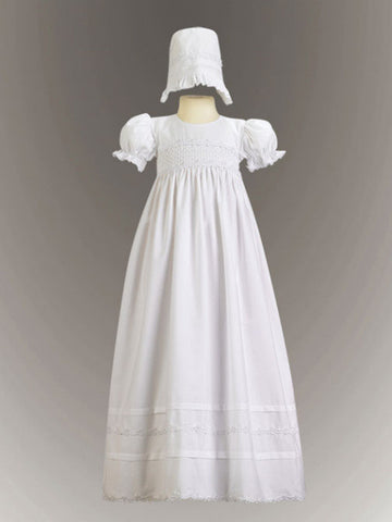Marie Smocked Bodice Cotton Christening Gown