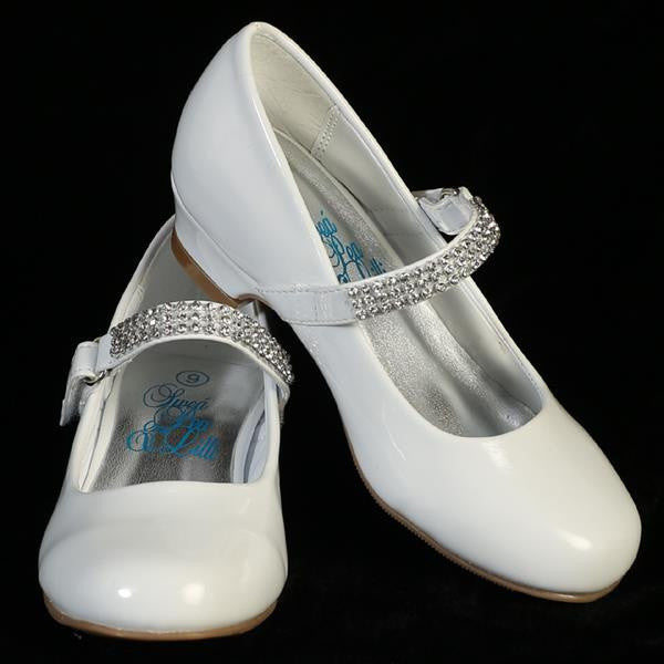 Mia Girls Rhinestone Strap Heel Shoe-white