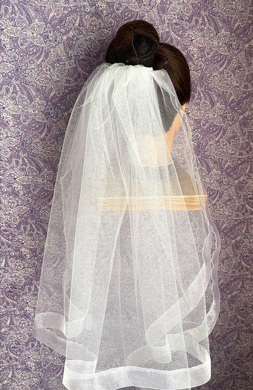 First Communion Double Layer Veil with 1 Inch Organza Trim