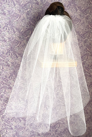 First Communion Double Layer Veil with Cut Edge