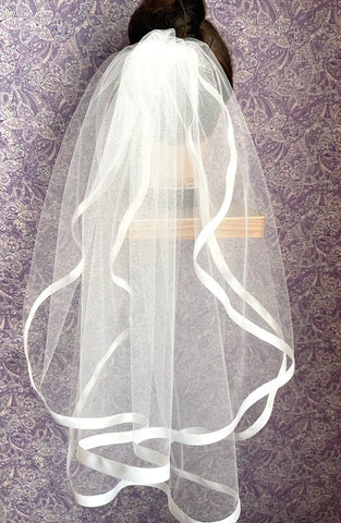 First Communion Double Layer Veil with 1/2 Inch Satin Trim
