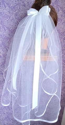 First Communion Double Layer Veil with 1/4 inch Satin Trim