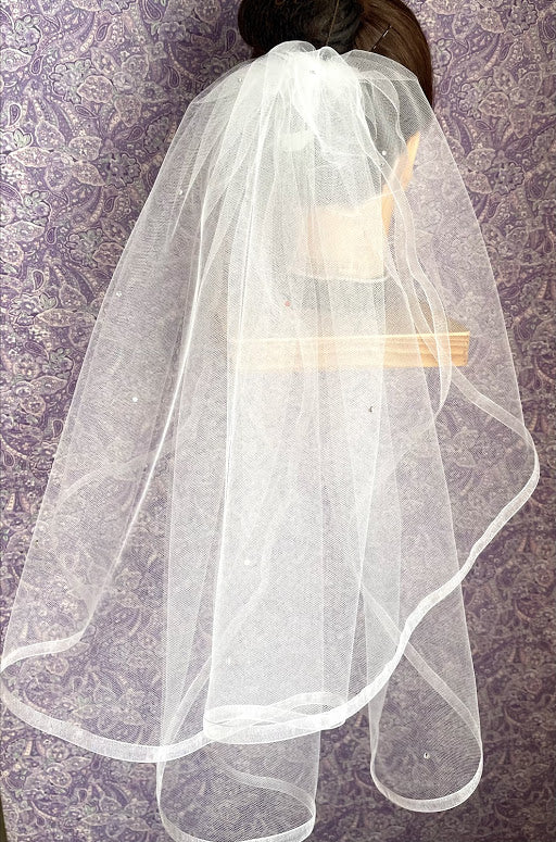 First Communion Double Layer Veil with 3/8 Inch Organza Trim
