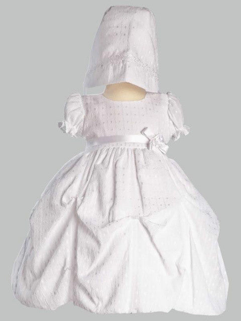 Olivia Poly Cotton Gathered Jacquard Dress with Bonnet