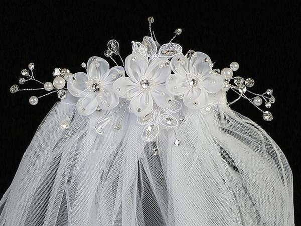 Organza Flower First Communion Comb and Veil - T-301