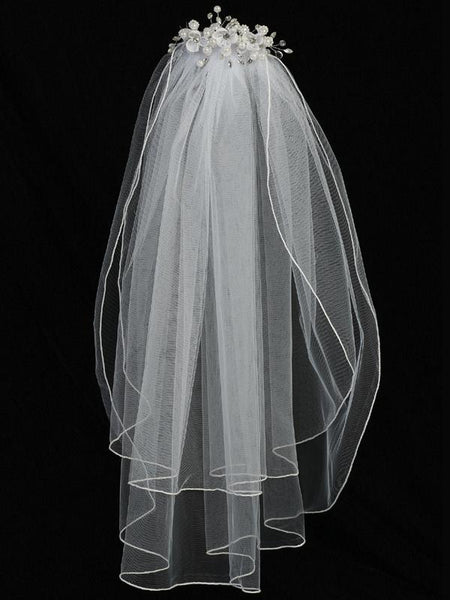 Organza Flower and Pearl First Communion Comb with Veil - T-300 - full length