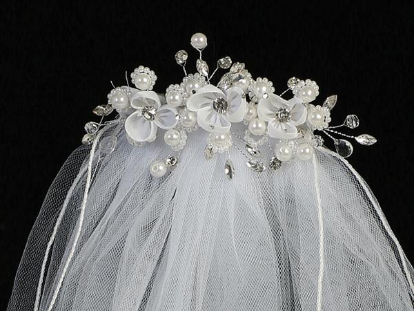 Organza Flower and Pearl First Communion Comb with Veil - T-300