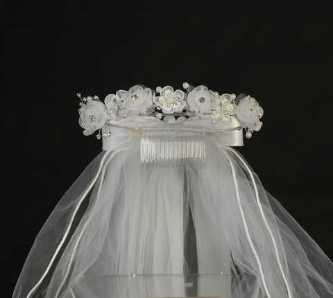 Organza Flower First Communion Headpiece with Rhinestone & Pearls  T-441