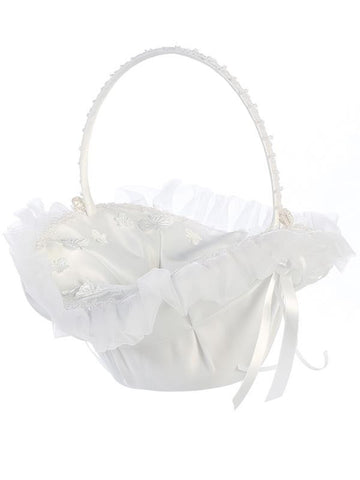 Organza Trim with Butterfly Appliques Flower Girl Basket   LT-FB9