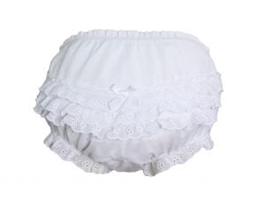 Baby Girls White Elastic Bloomer Diaper Cover with Embroidered Eyelet Edging - LTMAL-PCDC1W