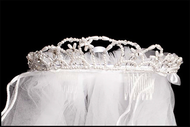 Pearl Tiara with Satin Bow and Veil - Lito T-67