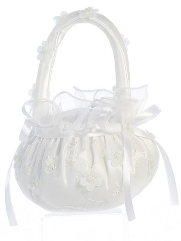 Pearlized Organza Flowers Flower Girl Basket   LT-FB71