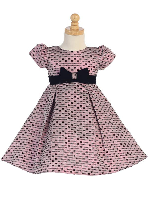 Pink Jacquard Holiday Dress with Bows Design  C-990P