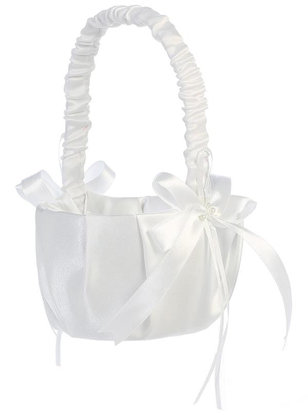 Pleated Satin with Bows Flower Girl Basket  LT-FB70