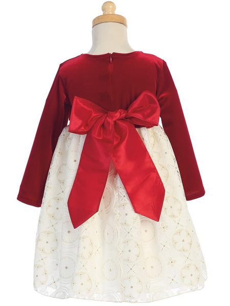 Red Velvet and Ivory Lace Holiday Dress with Gold Glitter Skirt  LT-C511 - back