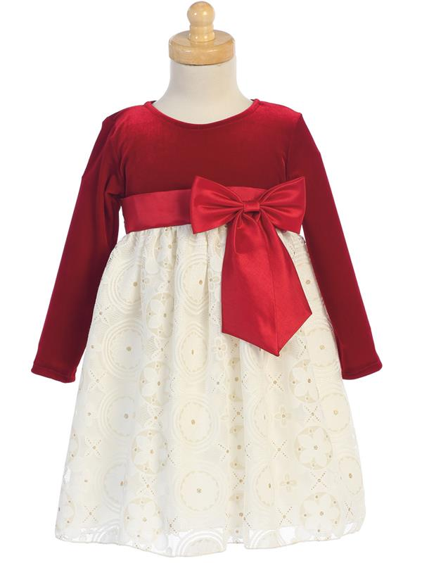 Red Velvet and Ivory Lace Holiday Dress with Gold Glitter Skirt  LT-C511