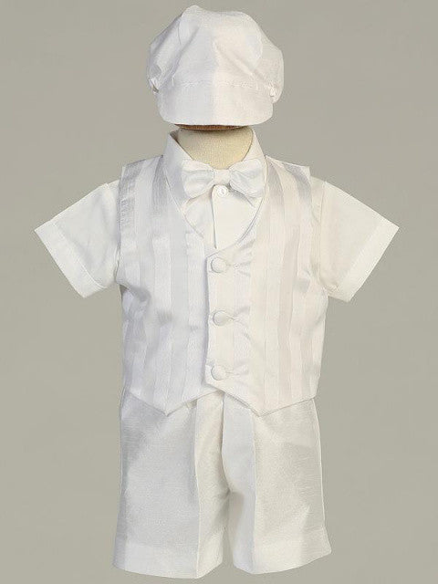 Richard Boys White Shantung Striped Organza Vest and Shorts Baptism Outfit