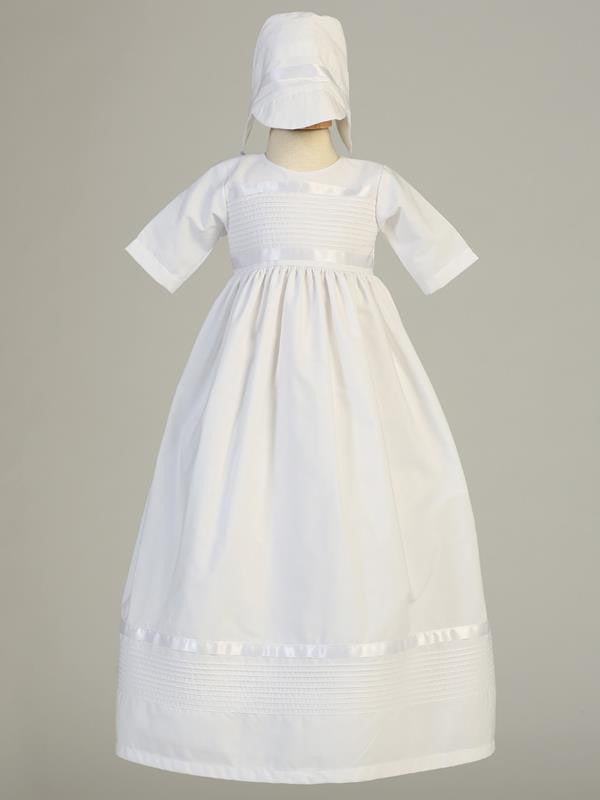 Riley White Poly Cotton Pintuck Baptismal Gown - Unisex