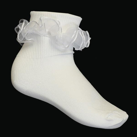 Girls Pageant Lace Tutu Ankle Sock - Lito S-5 - white