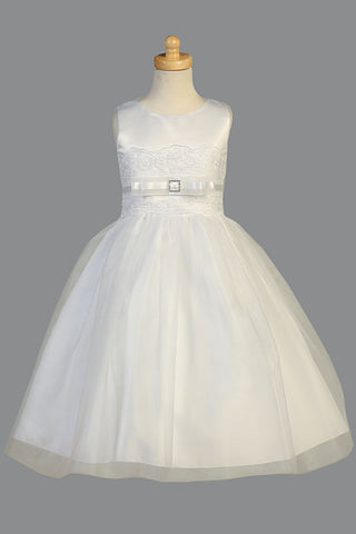 Satin First Communion Dress with Embroidered Tulle Accent - SP140