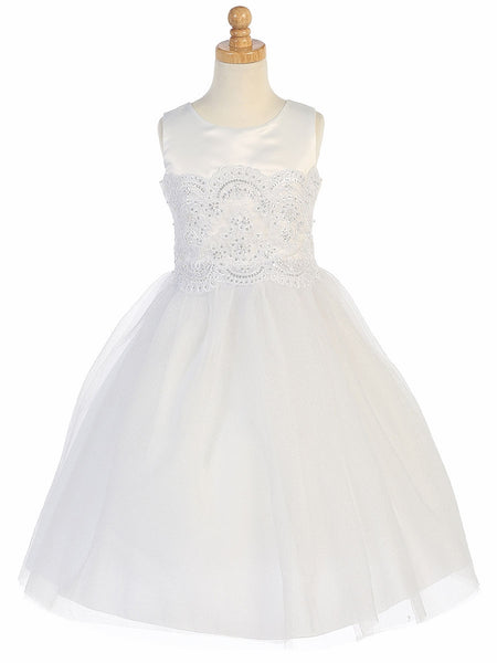 Satin & Tulle First Communion Dress with Embroidered Applique - SP144