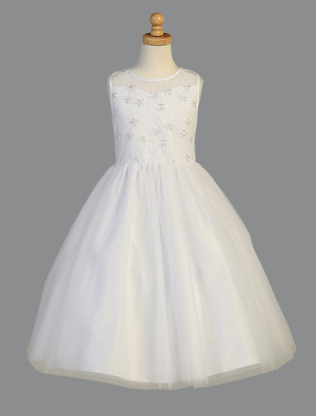 Embroidered and Beaded Sparkle Tulle First Communion Dress  LT-SP999