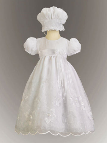Samantha Embroidered Organza Christening Gown