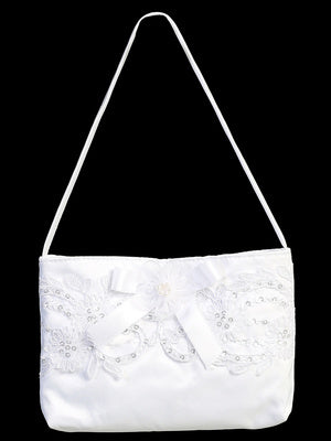 Satin purse with Corded Lace & Bow - LT-CP23