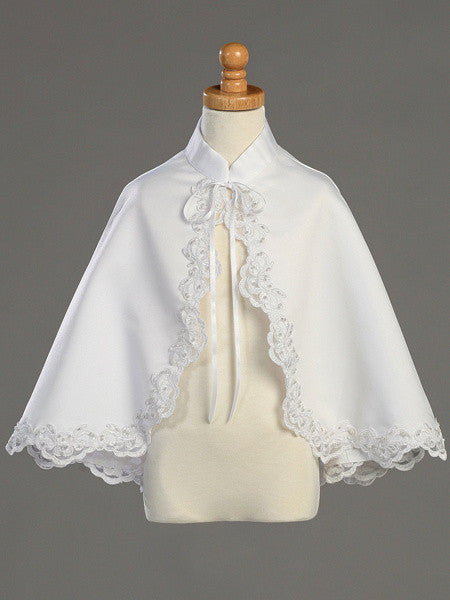 Satin Cape with Lace Trim