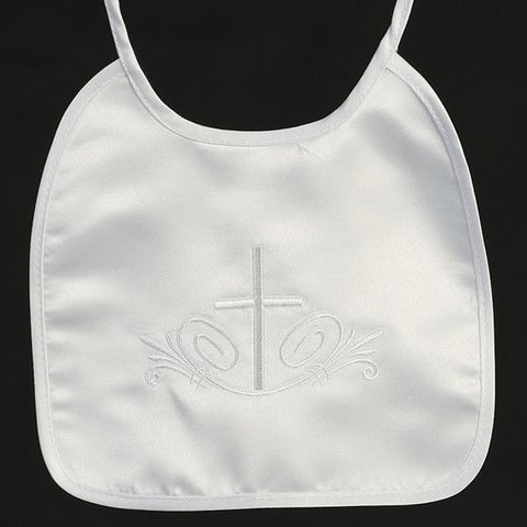 Satin Christening Bib with Embroidered Cross  BB-5